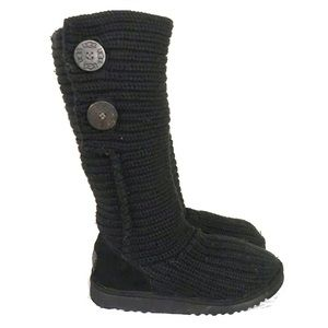UGG BLACK CARDY KNIT SLOUCH BOOTS SIZE 3
